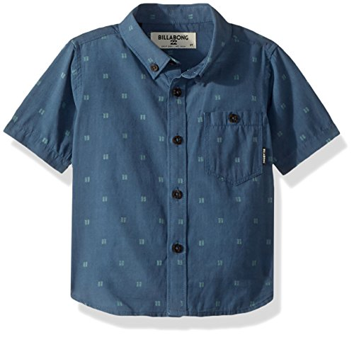 Billabong Boys' All Day Jacquard Short Sleeve Shirt Deep Blue Medium