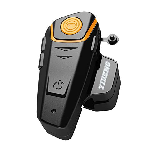 Yideng Bluetooth for Motorcycle Helmet Headset Wireless Intercom Interphone BT-S2 Walkie-Talkie Supports FM Radio GPS Voice Command Music Hands-Free up to 3 Riders Communication in 1000m(Single)