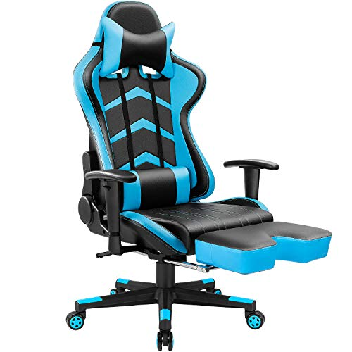 Furmax Gaming Chair High Back Racing Chair, Ergonomic Swivel Computer Chair Executive Leather Desk Chair with Footrest, Bucket Seat and Lumbar Support Blue