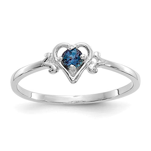 14k White Gold Synthetic Alexandrite Birthstone Heart Ring for Women Size 7