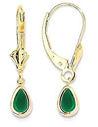 IceCarats 14k Yellow Gold 6x4mm Emerald/may Leverback Earrings Lever Back For Women Drop Dangle Birthstone May