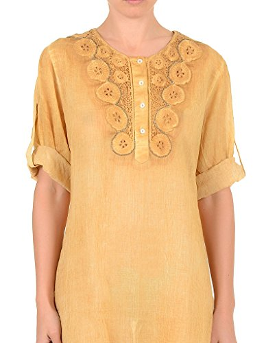 Iconique IC7-072 Women's Mustard Yellow Cotton Blouse Cover Up