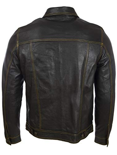Pelle Molto Da Genuino Mdk Stitch Motociclista yellow Giacca Uomo Black Classico Morbido Elegante 6xgq88