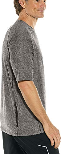 Coolibar UPF 50+ Men's Agility Short Sleeve Performance T-Shirt - Sun Protective (X-Large- Charcoal Heather)
