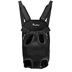 PAWABOO Pet Carrier Backpack, Adjustable Pet Front Cat Dog Carrier Backpack Travel Bag, Legs Out, Easy-Fit for Traveling Hiking Camping, Medium Size, Black 31