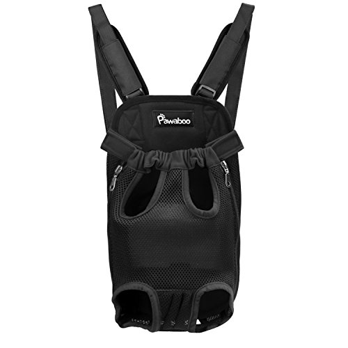 Legs Out Pet Carrier - PAWABOO Pet Carrier Backpack, Adjustable Pet Front Cat Dog Carrier Backpack Travel Bag, Legs Out, Easy-Fit for Traveling Hiking Camping, Medium Size, Black