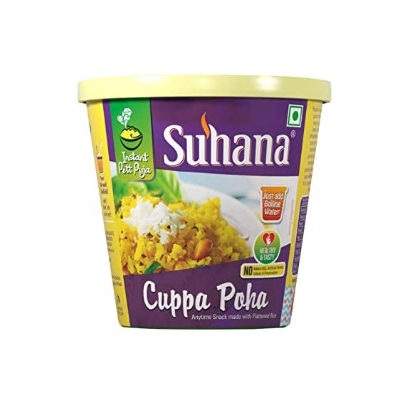 Suhana Cuppa Poha Ready to Eat Instant Breakfast/ Ready Meal- Pack of 6