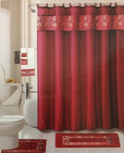 22 Piece Bath Accessory Set Burgundy Red Rug Shower Curtain