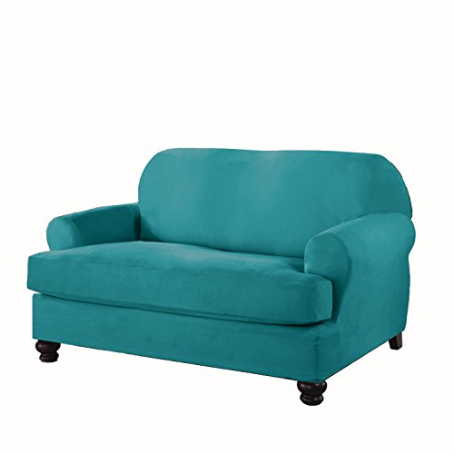 Serta 862765 Stretch T Loveseat Slipcover, Aqua