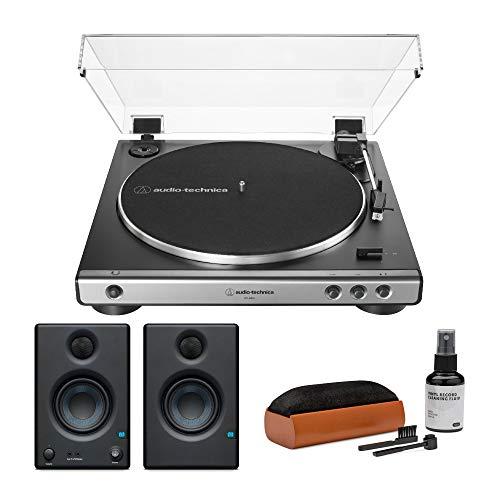 Audio-Technica AT-LP60X Turntable (Gunmetal) Bundle with Presonus Eris 3.5 Monitors and Knox Cleaning Kit