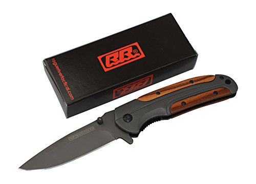 Rogue-River-Tactical-Gentlemans-Folding-Knife-Wood-Handle-Hunting-Knife-Spring-Assisted-Pocket-Knife-Folding