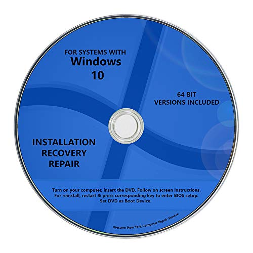Windows 10 Pro & Home Install Reinstall Restore Upgrade Repair Recovery 64 bit x64 WNYPC Backup Utility DVD (Windows Vista Home Premium 64 Bit)