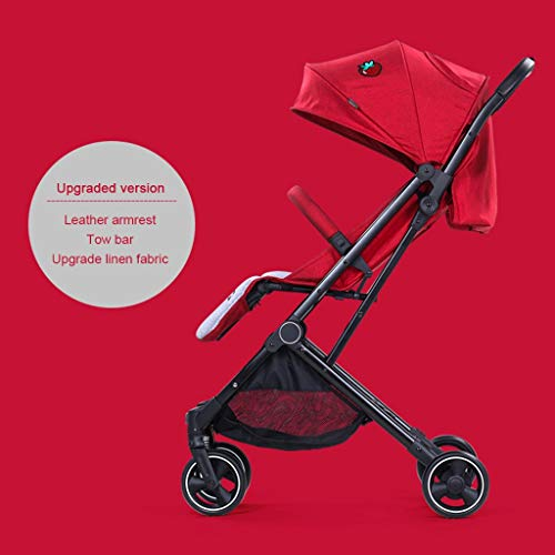 ☝YEC Baby Stroller, Ultra Light and High Landscape Folding Children's Pocket Umbrella Pram (Color : Red)