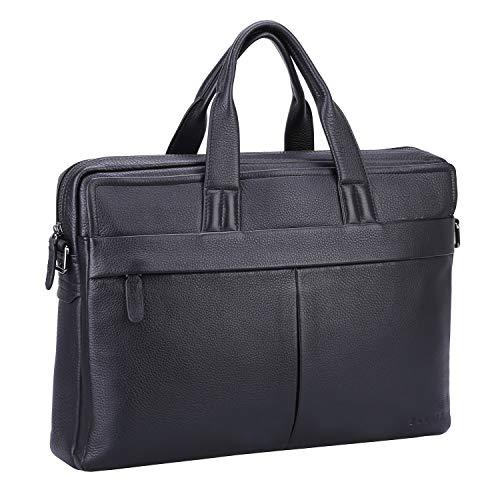 Banuce Black Soft Leather Briefcase for Men Business Attache Case 13 inch Laptop Bag Tote Handbag Shoulder Messenger Bag