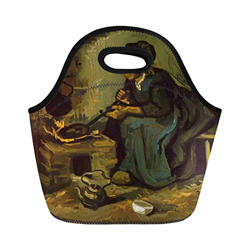 Vincent Fireplace - Semtomn Lunch Bags Peasant Woman Cooking By Fireplace Vincent Van Gogh 1885 Neoprene Lunch Bag Lunchbox Tote Bag Portable Picnic Bag Cooler Bag