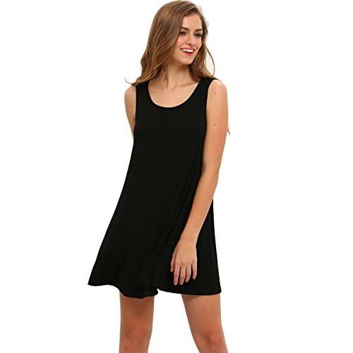 e4e0a607df4d hot sale ROMWE Women's Casual T-Shirt Sleeveless Swing Dress Tunic Tank Top  Dresses