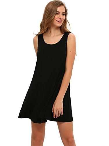 ROMWE Women's Casual T-Shirt Sleeveless Swing Dress Tunic Tank Top Dresses Black M