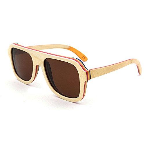 de Color Clásicos de de Gafas Tonos Sol Yxsd Beige los Blue de Madera Madera Gafas óptica bambú Unisex de de SunglassesMAN Hombres Retro UV400 Mujeres xTB8vI