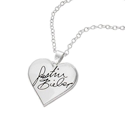 Justin Bieber Signature Heart Necklace (Justin Bieber Dog Tag Keychain)