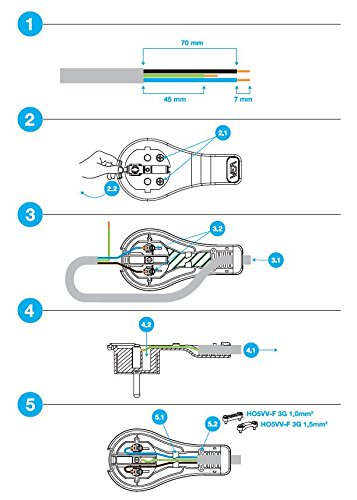 set 2 pi/èces connecteur plat blanc langle de contact de protection /à fiche plate connecteur /à angle plat suppl/émentaire