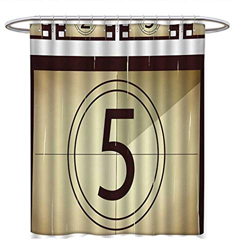 Anhuthree Movie Theater Shower Curtains with Shower Hooks Scratched Film Strips Vintage Movie Frame Pattern Grunge Illustration Satin Fabric Bathroom Washable W36 x L72 Beige Brown White