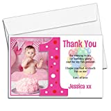 10 Personalised Girls First 1st Birthday Party Thank you PHOTO Cards N192