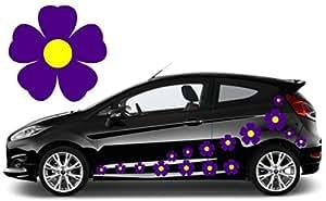 Teez 32morado y amarillo pegatinas de calcomanías de flores, flores, diseño de flores, Coche gráfica