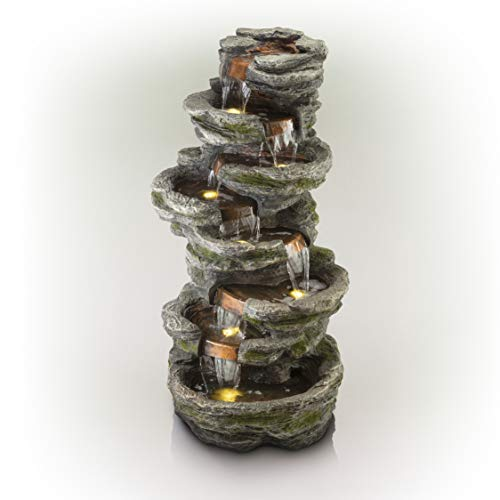 Alpine Stone Look Multiple Tiered Fountain, 58 Inch Tall