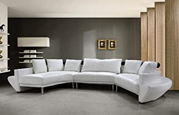 italian leather living room furniture. Jupiter White Top Grain Italian Leather Living Room Sectional Sofa Amazon com