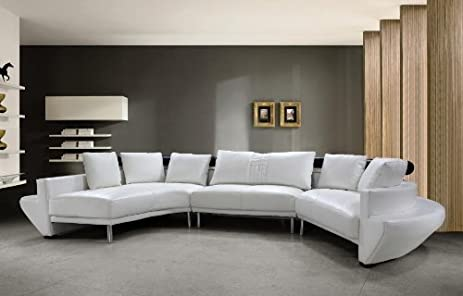 Jupiter White Top Grain Italian Leather Living Room Sectional Sofa : italian sectional - Sectionals, Sofas & Couches