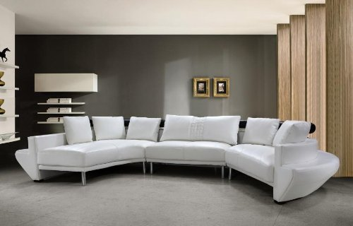 Jupiter White Top Grain Italian Leather Living Room Sectional Sofa - White Leather Sectionals For Sale: Leather Sectional Sofas