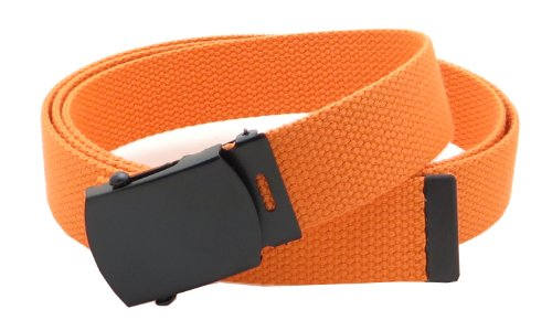 Orange Web - Canvas Web Belt Military Style with Black Buckle and Tip 56