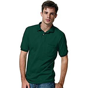 Men's 5.2 oz Hanes STEDMAN Blended Jersey Pocket Polo,Deep Forest,XL