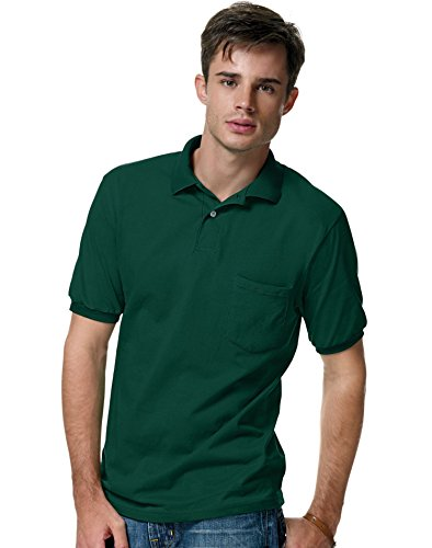 Shirt Polo Pocket Pique - Hanes Men's 5.2 oz Hanes STEDMAN Blended Jersey Pocket Polo, L-Deep Forest
