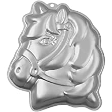 "Wilton 3-D Pony Cake Baking Pan, Makes Perfect Horse or Unicorn Party Cake for Birthdays, Race Day Parties and School Celebrations, Includes Decorating Instructions, Aluminum (10.5"" x 12"" x 2"")"
