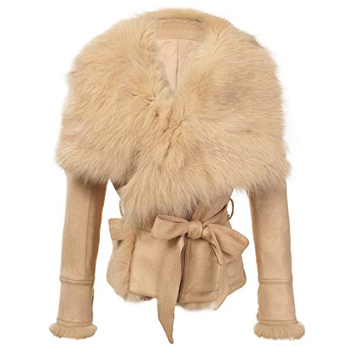 She'sModa Warm Faux Suede Real Fox Fur Collar Jacket Thickin with Belt Women's Winter Fur Coat L Beige