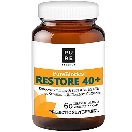 Pure Essence Labs PureBiotics Restore 40+ - Supports Immune & Digestive Health - Dairy & Gluten Free - 15 Probiotic Strains - 35 Billion CTU - 60 Delayed Response Vegetarian Capsules