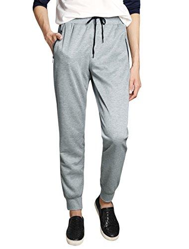 uxcell Men Drawstring Waist Slant Pockets Mid Rise Sweatpants Light Gray 36