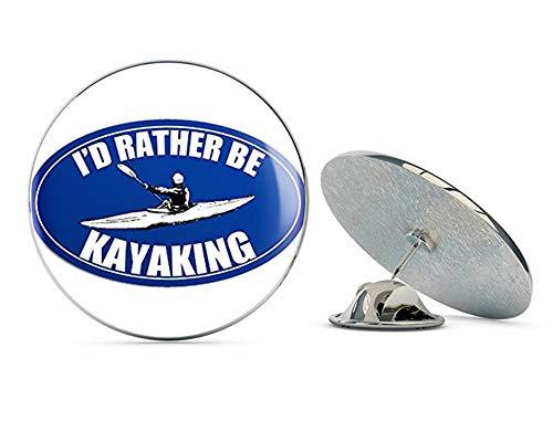 NYC Jewelers Blue Oval I'd Rather Be Kayaking (id Kayak Kayaker Yak) Metal 0.75