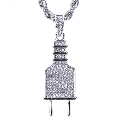 Hc Plug (Men's Hip Hop Iced Out Silver Tone Electric Plug Pendant Pendant & Rope Chain 24