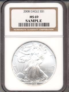 2008 – Silver Eagle Dollar MS69 NGC
