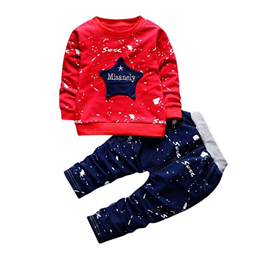 1-3 T Fashion 2pcs Newborn Infant Baby Boys Star Print Tops Sweatshirt + Jean Pants Outfits Winter Clothes Set (Red, 18-24 Months)