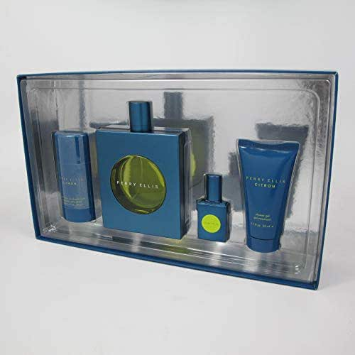 CITRON BY PERRY ELLIS 4 PCS SET: 100 ML/3.4 OZ EAU DE TOILETTE SPRAY,2.75 OZ DEODORANT STICK, 1.7 OZ SHOWER GEL & 7.5 ML/0.25 OZ EAU DE TOILETTE TRAVEL SPRAY