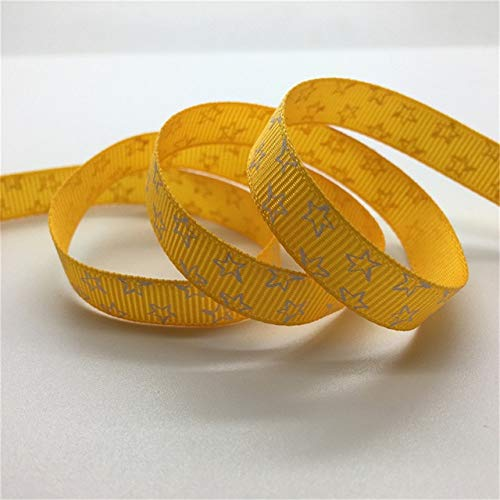 (5Yards Stars Printed Grosgrain Ribbon 3/8 Inch-Ribbon for Sewing-Ribbon for Crafts-Ribbon for Gift Wrap-Ribbon for Hair Bows Making-Ribbon Wedding Decoration-Hair Bow Making Supplies Yellow Ribbon)