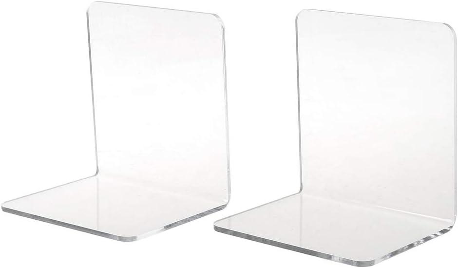 MEIYIN 2Pcs Clear Acrylic Bookends L-Shaped Desk Organizer Desktop Book Holder School Stationery Office Accessories