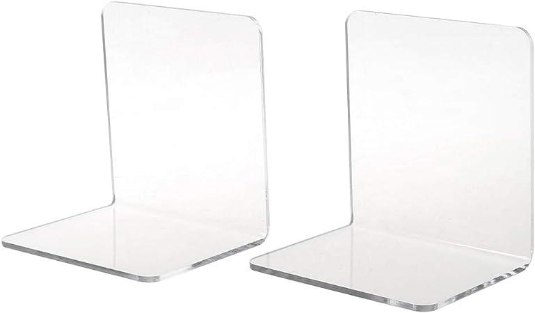 2Pcs Acrylic Bookend Organizer Stand Stationery Book Shelf Holder S// M //L