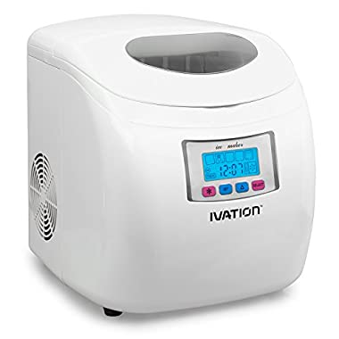 Portable Ice Maker w/LCD Display - 2.8-Liter Water Reservoir, 3 Selectable Cube Sizes - Yield of up to 26.5 Pounds of Ice Daily