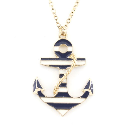 Exquisite Gold Tone Marine Theme Anchor Pendant (Men's Anchor Necklace)