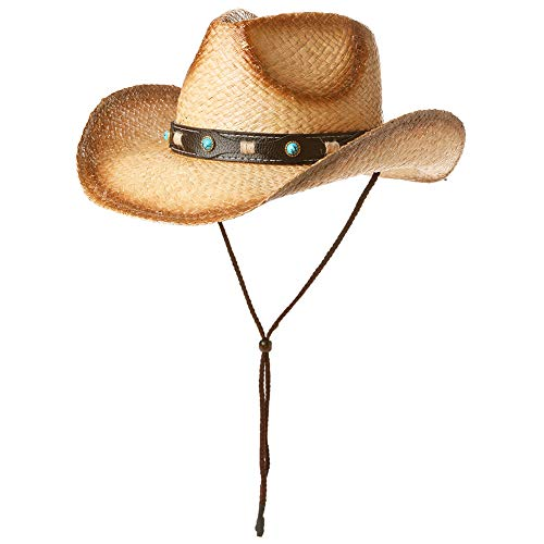 Fancet Mens Mexican Cowboy Hat Studded Belt Western Straw Strap for Women Country Costume Khaki 60cm -