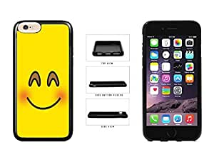 Bright Yellow Blushing Smiley Face TPU RUBBER SILICONE Phone Case Back Cover Apple iPhone 6 Plus (5.5 inches)